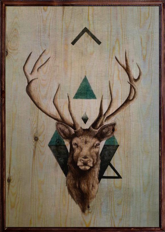 Deer Ahşap Tablo