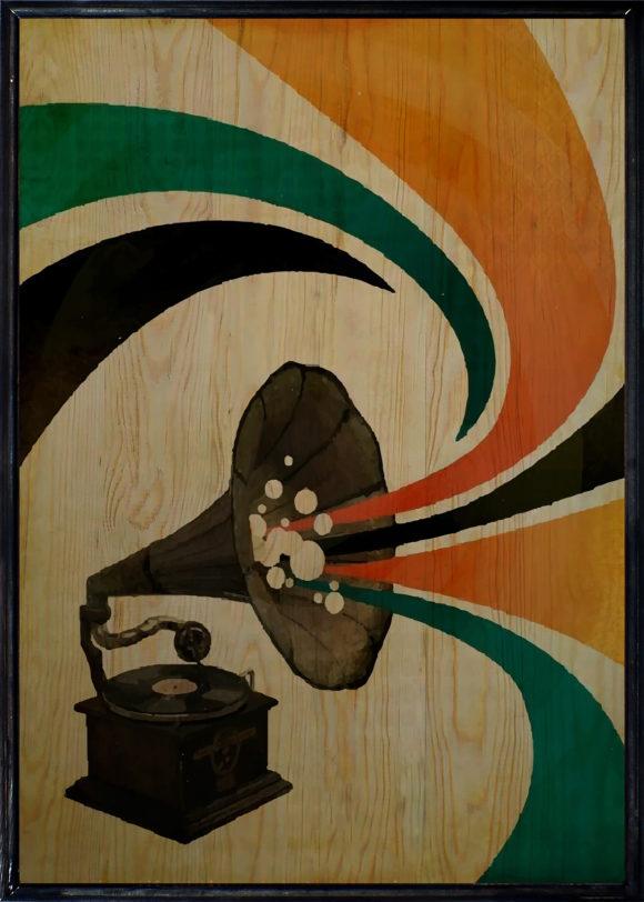 Gramophone Ahşap Tablo