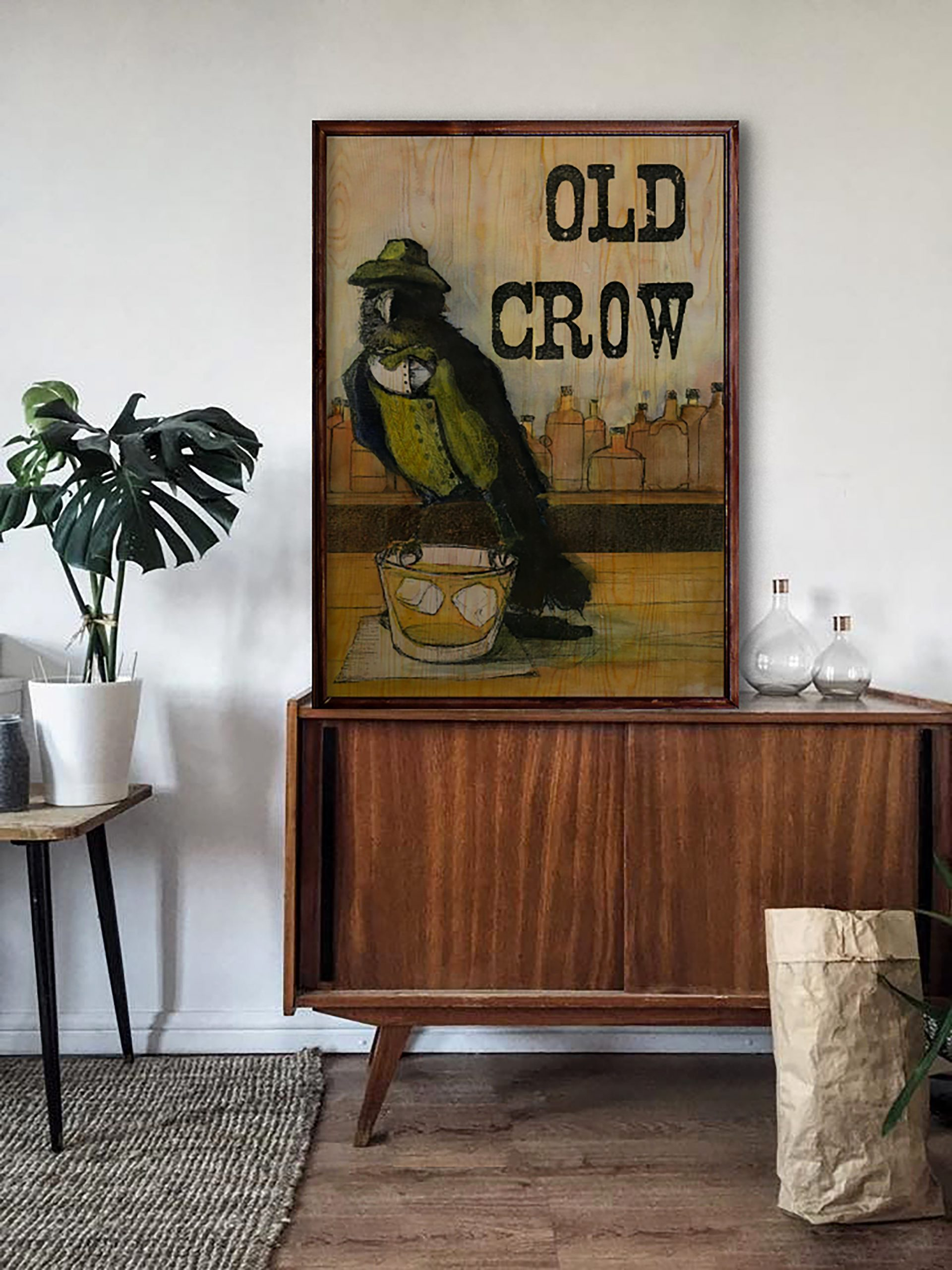 Old Crow Ahşap Tablo