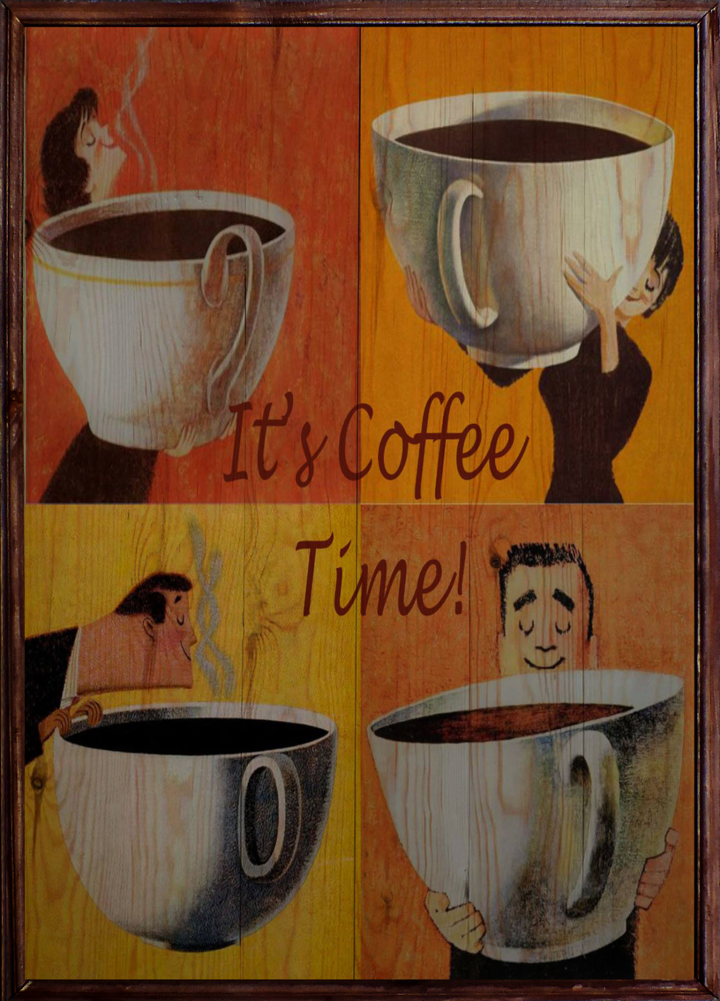 Coffee Time Ahşap Tablo