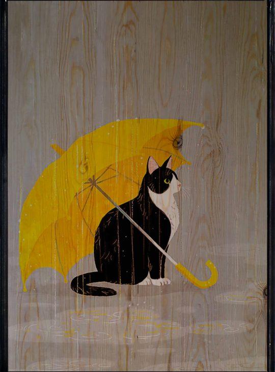 Cat With Umbrella Ahşap Tablo