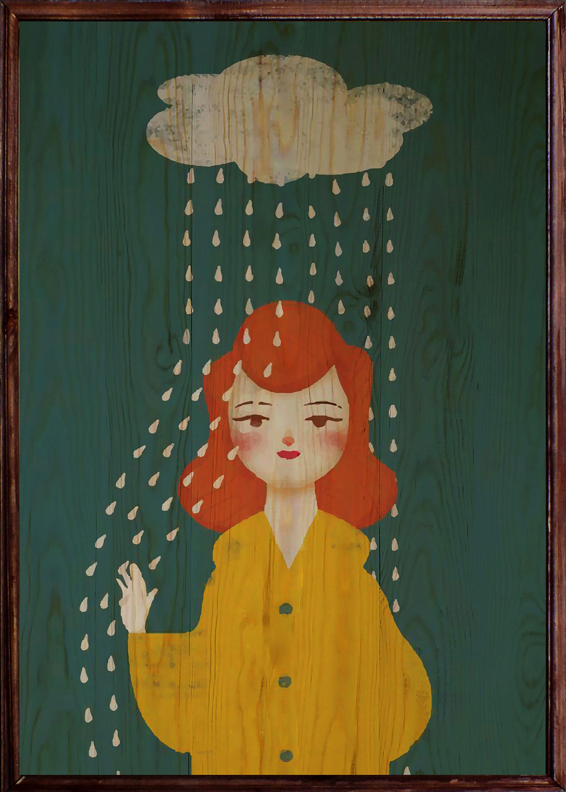 Rainy Girl Ahşap Tablo