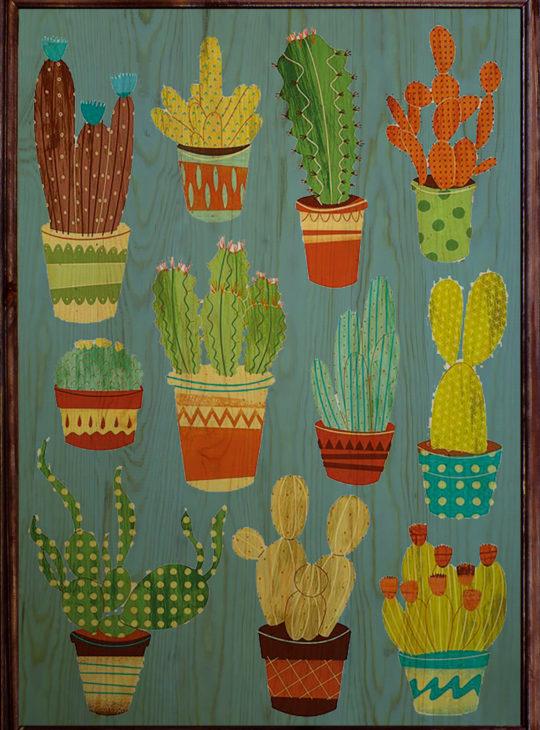 Cactus Ahşap Tablo