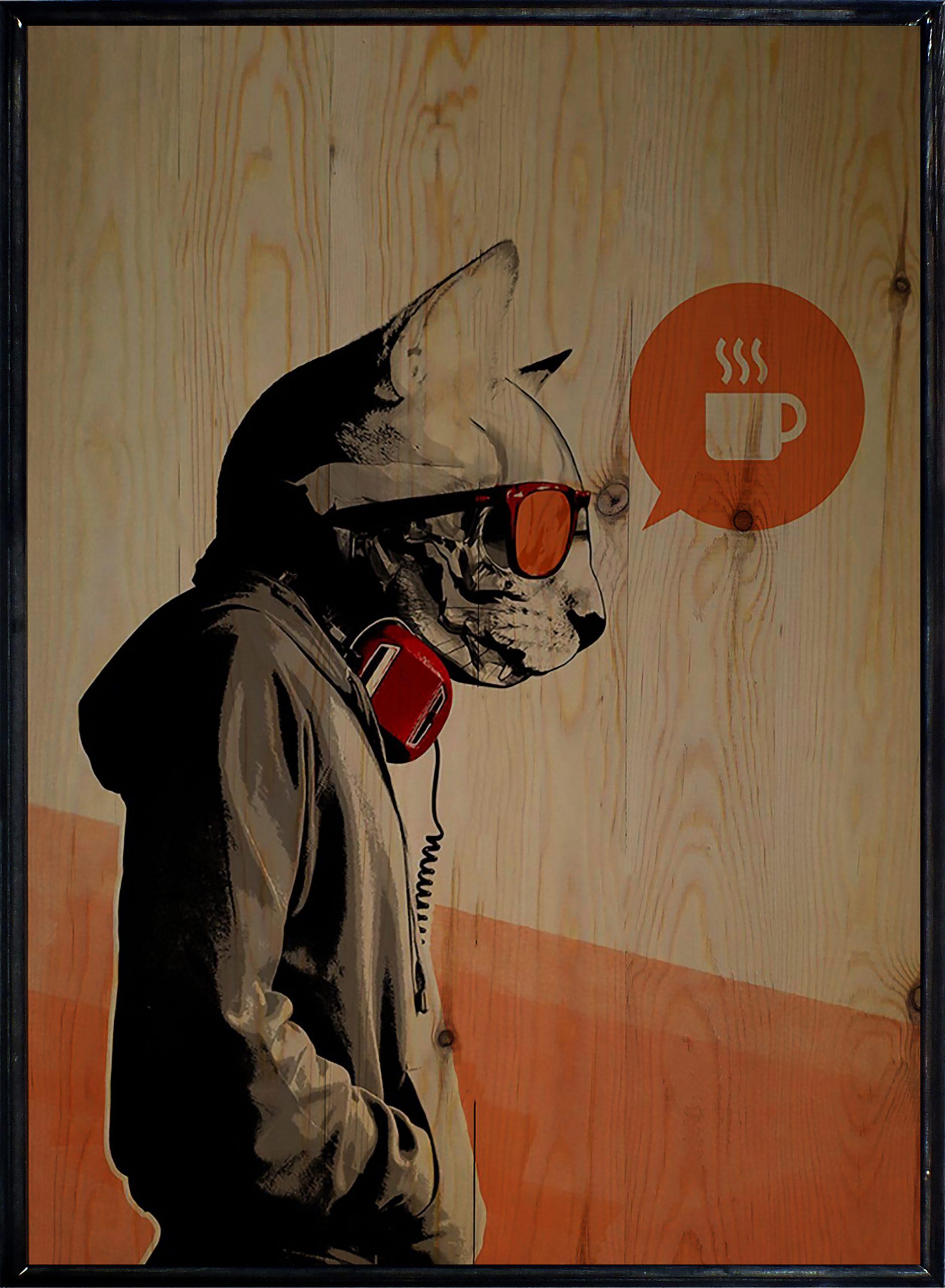 Hipster Cat Ahşap Tablo