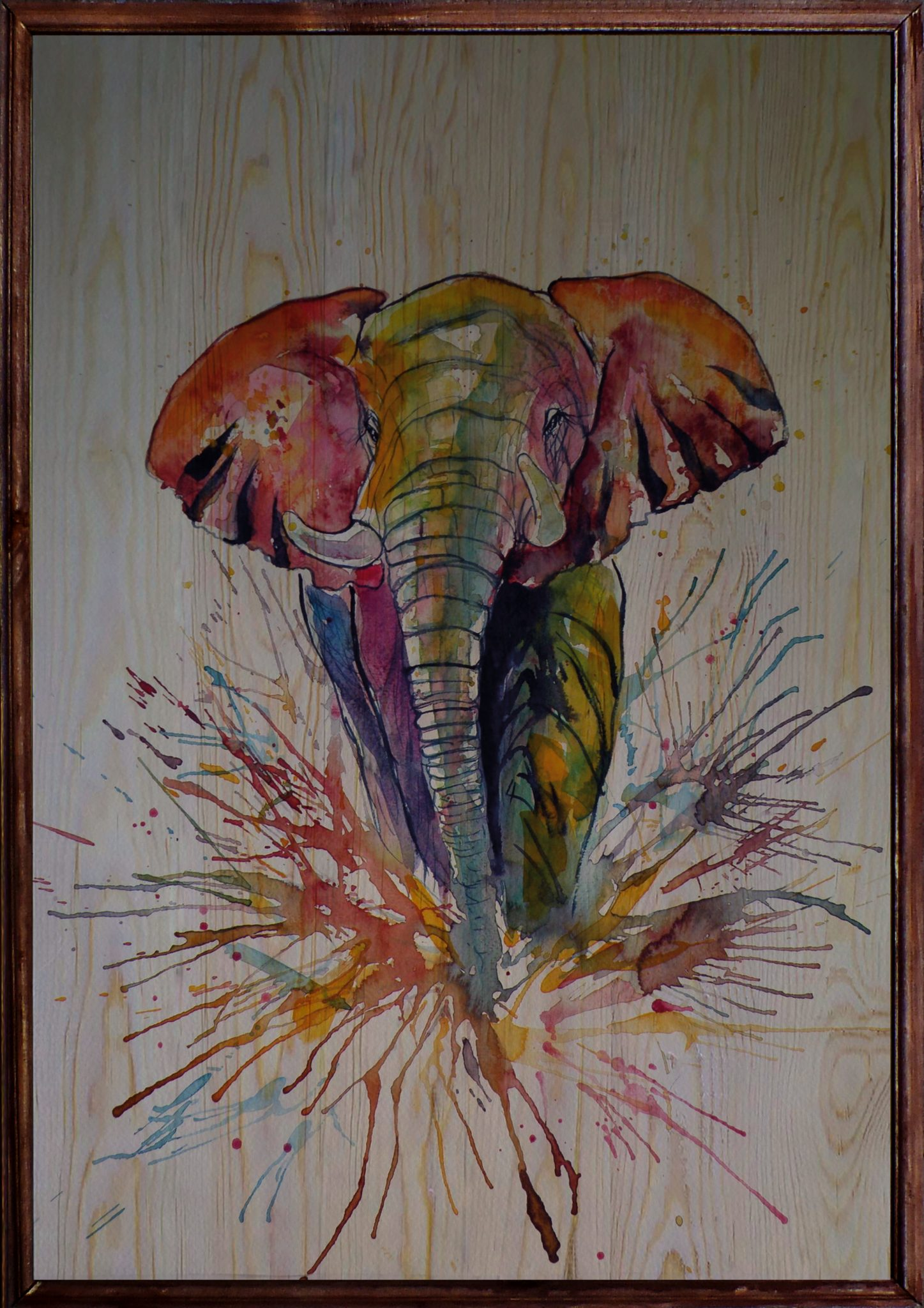 Colorful Elephant Ahşap Tablo
