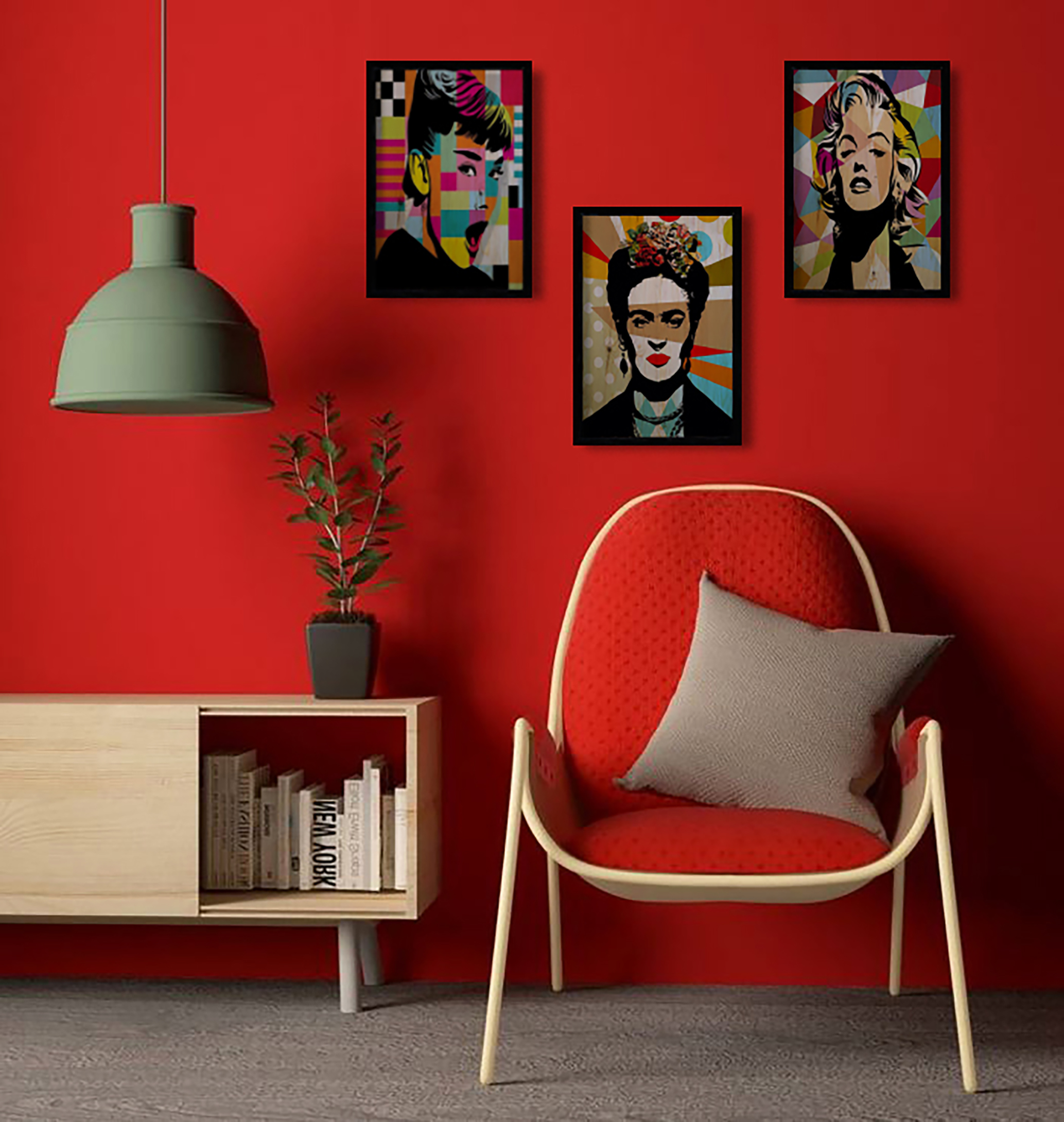Pop Art Üçlü Set Ahşap Tablo