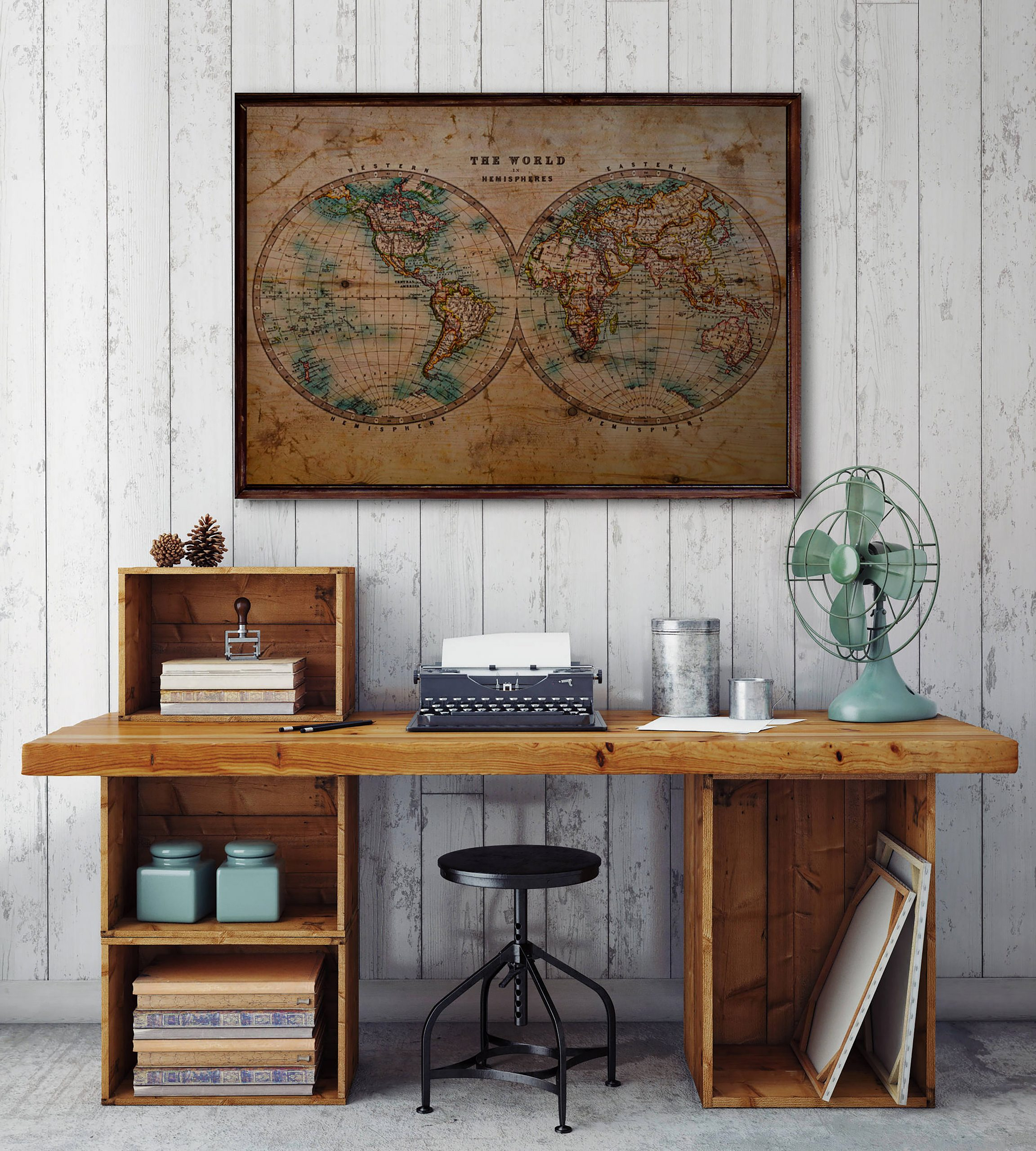Vintage World Map Ahşap Tablo