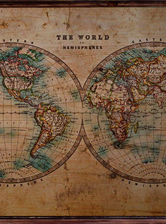 Vintage World Map Ahşap Tablo