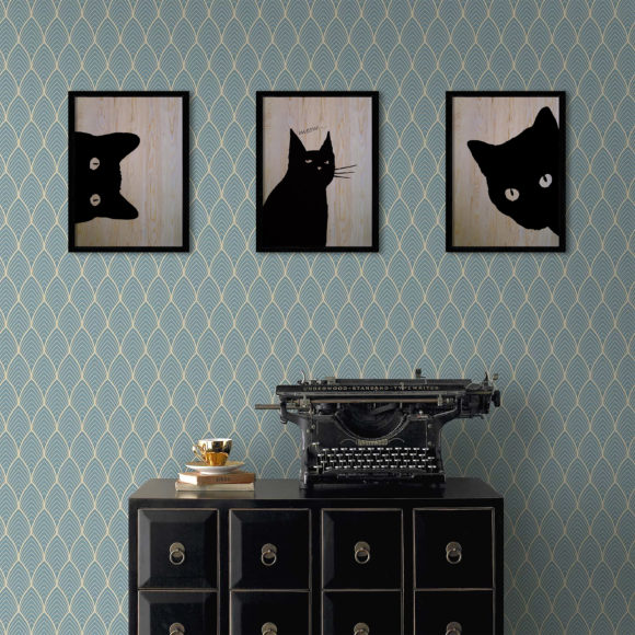 Black Cat  3'lü Set Ahşap Tablo