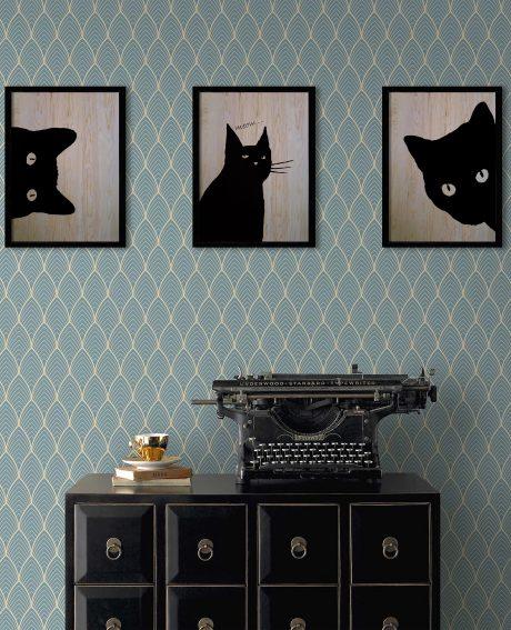 Black Cat  3'lü Set Ahşap Tablo