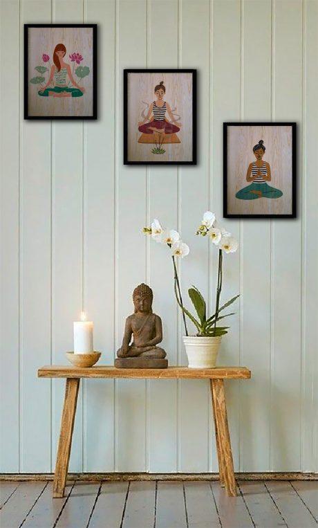 Yoga üçlü ahşap tablo