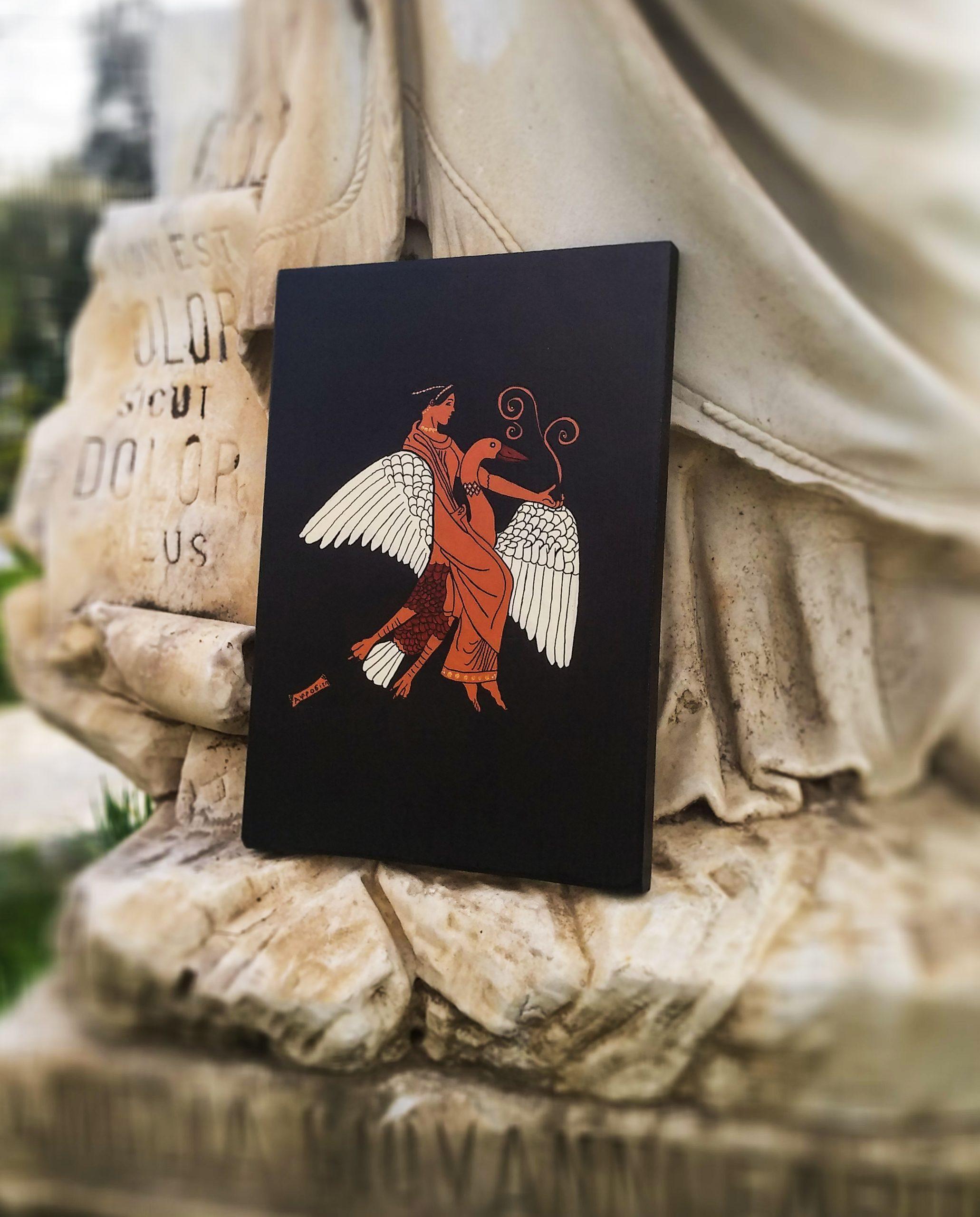 Aphrodite ve Eros İkili Set Ahşap Tablo