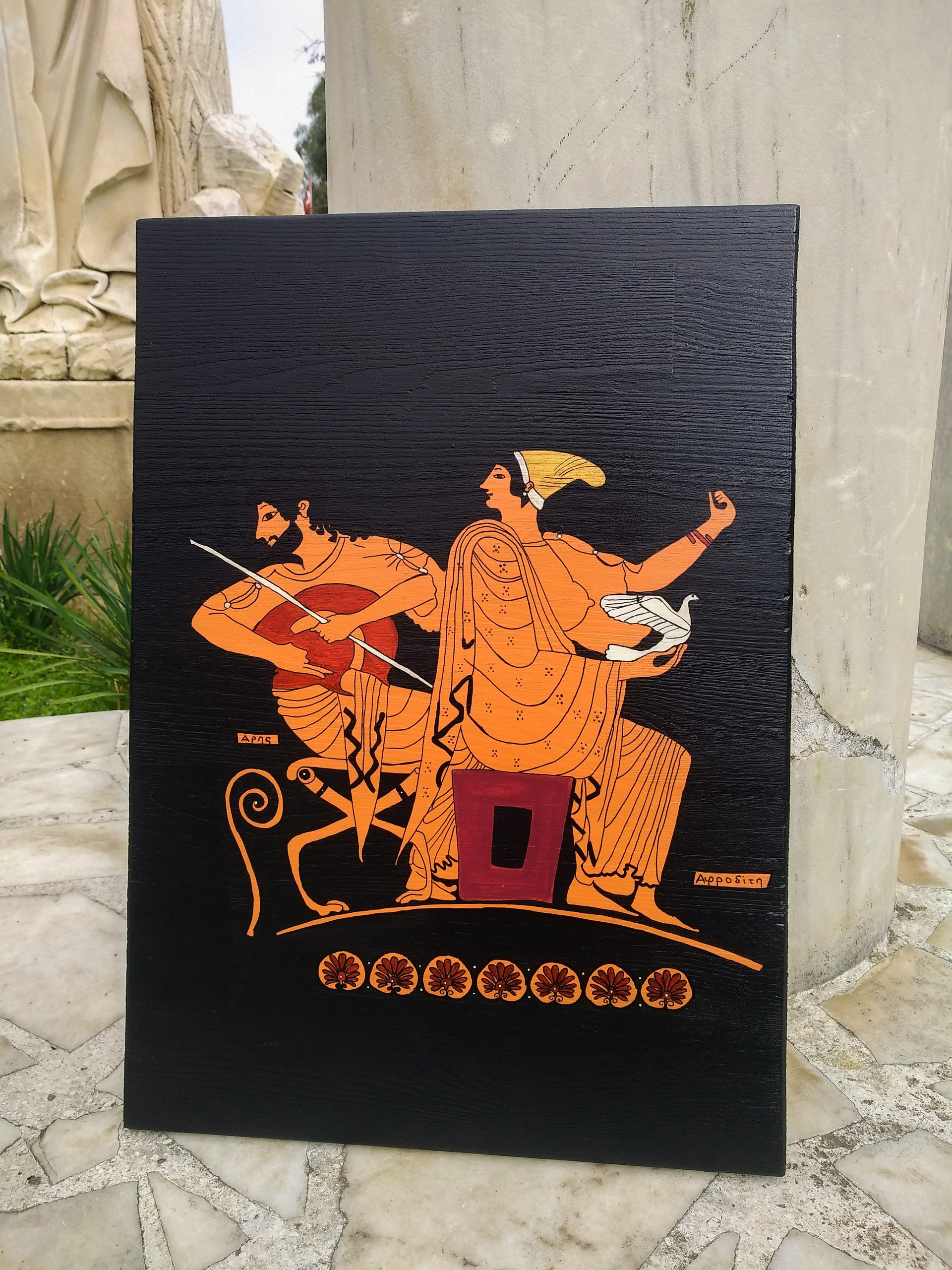 Ares ve Aphrodite Ahşap Tablo