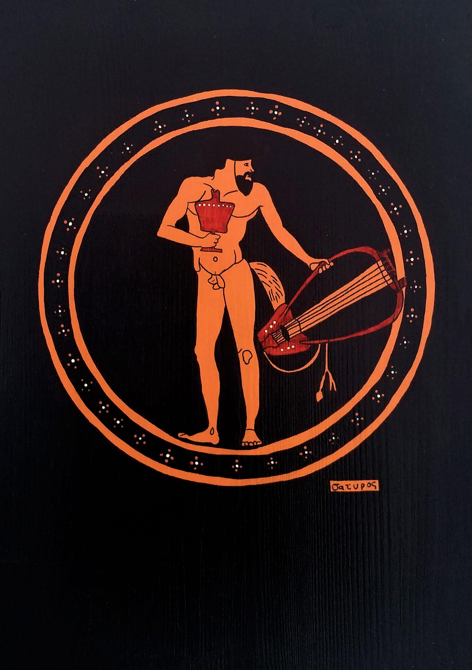 Menad, Satyr, Dionysos Ahşap Set Tablo