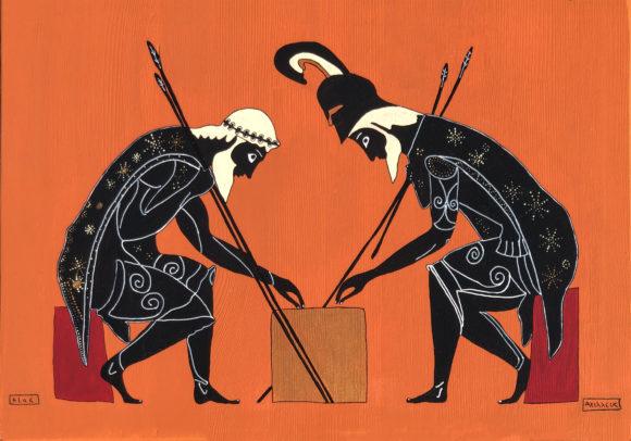 Akhilleus ve Ajax Ahşap Tablo