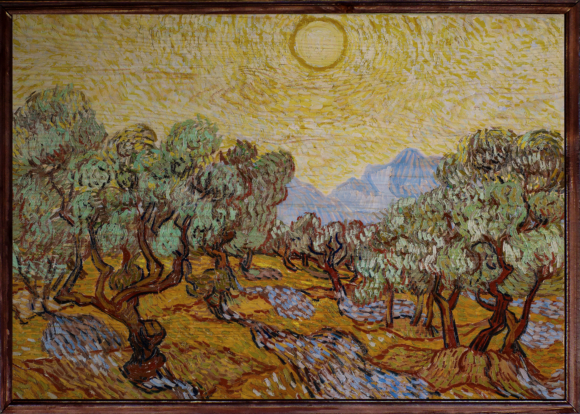 Olive Trees with Yellow Sky and Sun Ahşap Tablo