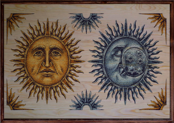 Sun and Moon Ahşap Tablo